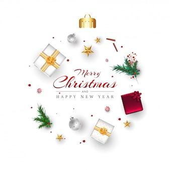 Texte joyeux noël et bonne année avec vue de dessus des coffrets cadeaux, étoiles, boules, feuilles de pin et baies décorées sur blanc.