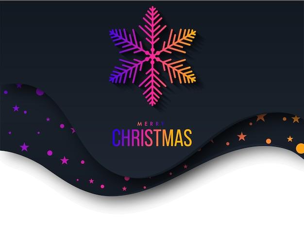 Texte de joyeux noël dégradé avec flocon de neige et étoiles sur papier découpé fond noir et blanc.
