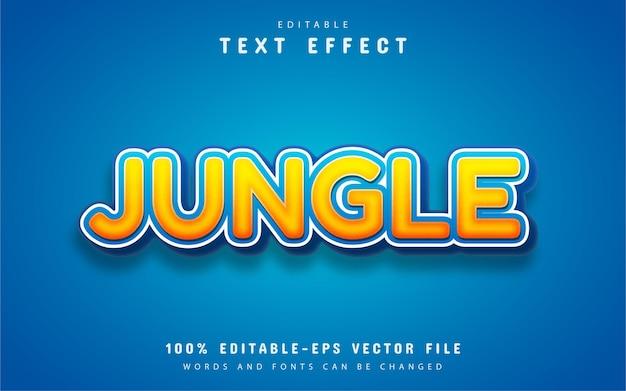 Texte de la jungle, effet de texte de style dessin animé orange