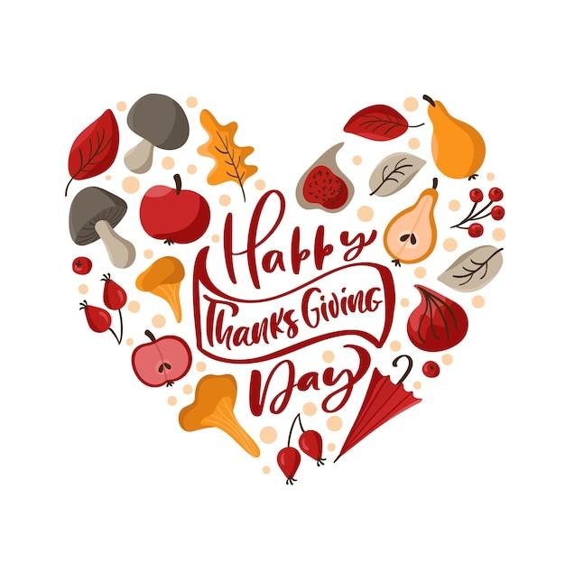 Texte de lettrage calligraphique joyeux thanksgiving day avec cadre de guirlande d'automne en forme d'amour de coeur.