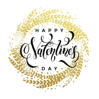 Texte de lettrage vector or luxe saint valentin sur ornement doré pour carte de voeux blanche premium