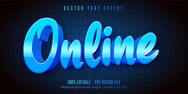 Texte en ligne, effet de texte modifiable de style de jeu de couleur bleue