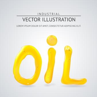 Texte liquide d'huile. sur un fond blanc.