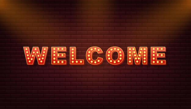 Texte de lumière rétro bienvenue. ampoule rétro. illustration vectorielle de stock.