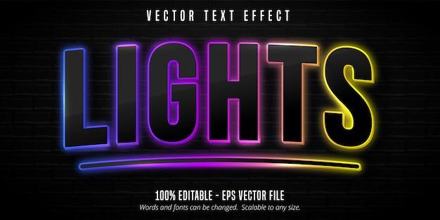 Texte de lumières, effet de texte modifiable style néon coloré