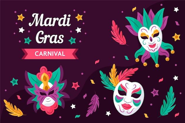 Texte De Mardi Gras Dessiné Avec Des Masques Illustrés Vecteur gratuit