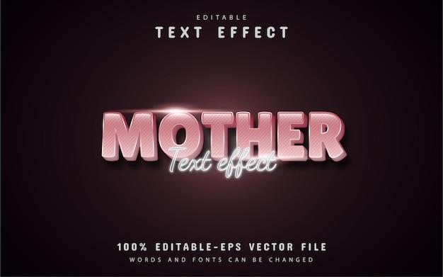 Texte de la mère - effet de texte de style dégradé rose 3d modifiable