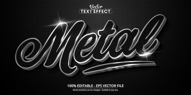 Texte en métal, effet de texte modifiable de style argent brillant