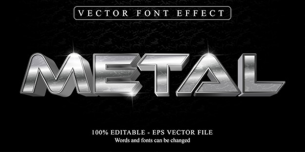 Texte en métal, effet de texte modifiable de style métallique brillant