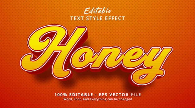 Texte de miel sur le style d'événement de titre de couleur miel, effet de texte modifiable