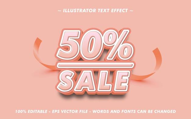 Texte modifiable 50 pour cent de vente avec effet de style 3d