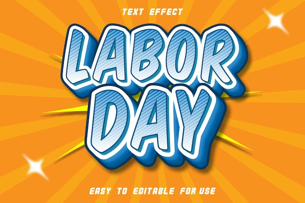 Texte modifiable effet labor day blue cayn