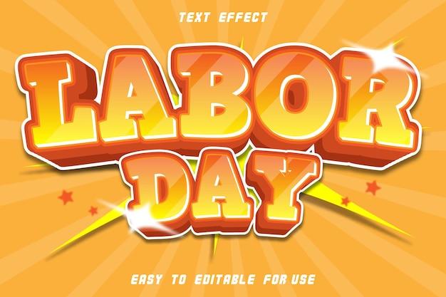 Texte modifiable effet labor day comic orange