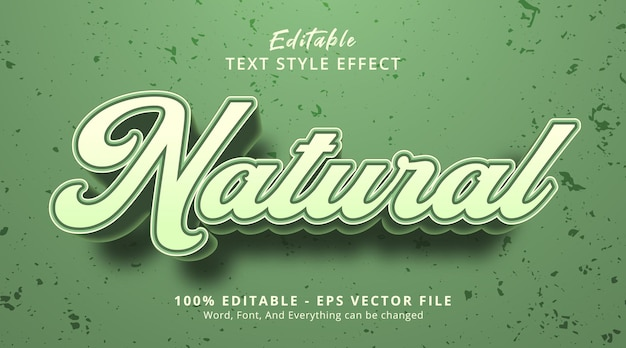 Texte naturel sur le style d'événement de titre vert, effet de texte modifiable
