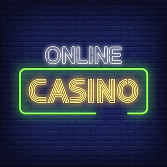 Texte de néon de casino en ligne dans le cadre