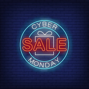 Texte néon cyber monday sale en cercle