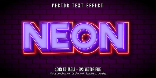 Texte Néon, Effet De Texte Modifiable De Style Néon Violet Vecteur Premium