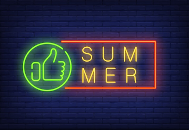 Texte de néon de l'été dans un cadre avec le pouce vers le haut. annonce saisonnière d'offre ou de vente