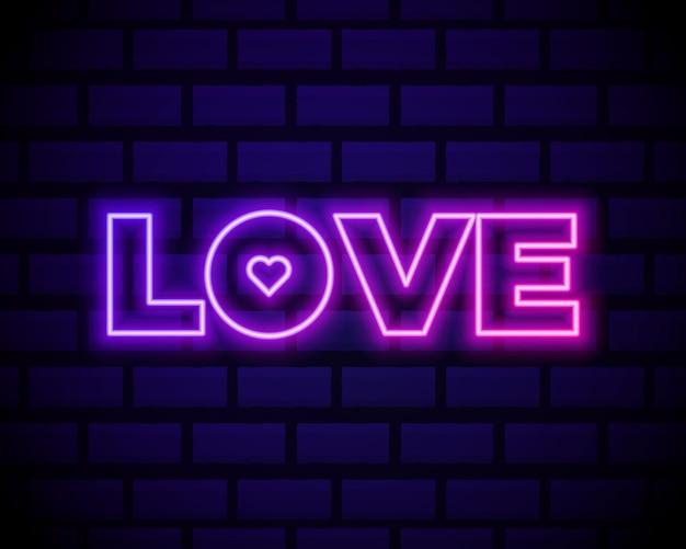 Texte néon love avec coeur.