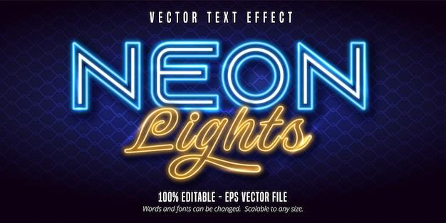 Texte de néons, effet de texte modifiable de style signalétique