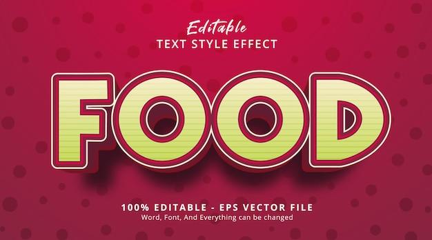 Texte de nourriture sur le style d'affiche de titre de nourriture, effet de texte modifiable