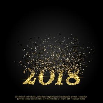 Texte de la nouvelle année 2018 fait avec des particules éclatant vers le haut