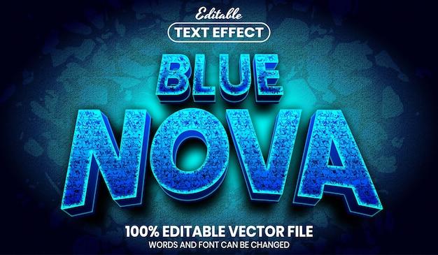 Texte nova bleu, effet de texte modifiable de style de police