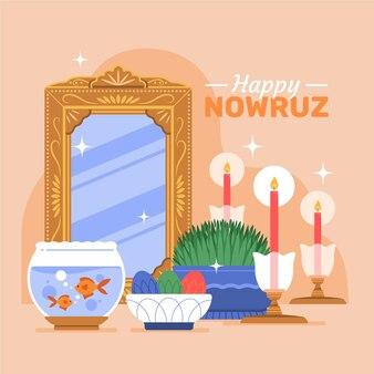 Texte de nowruz heureux avec illustration