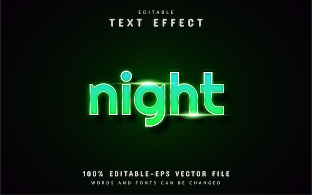 Texte de nuit - effet de texte de style néon vert