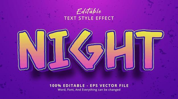 Texte de nuit sur le style d'affiche d'événement de titre, effet de texte modifiable