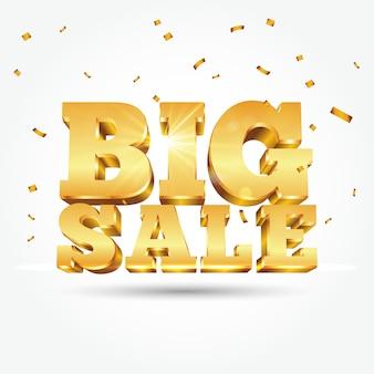 Texte d'or 3d grande vente avec des confettis isolé sur fond blanc. illustration pour la promotion de la vente à rabais