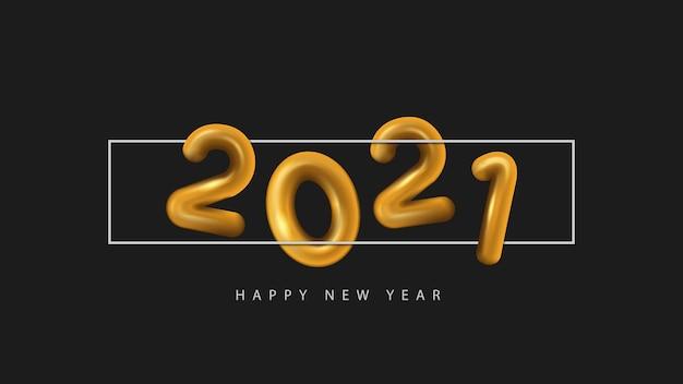 Texte d'or de bonne année 3d 2021 sur fond noir