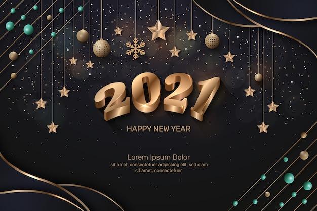 Texte d'or de bonne année et boules golen avec des étoiles et des éclairs