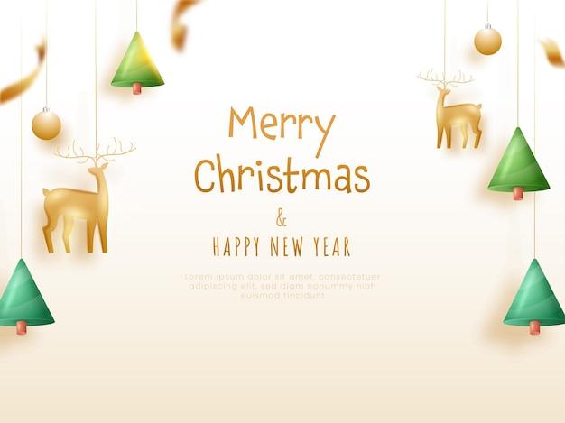 Texte d'or joyeux noël et bonne année avec renne 3d, arbre de noël, boules suspendues à l'arrière-plan décoré.