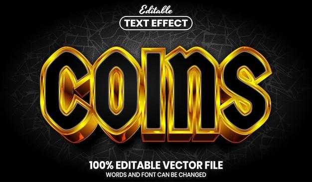 Texte de pièces de monnaie, effet de texte modifiable de style de police