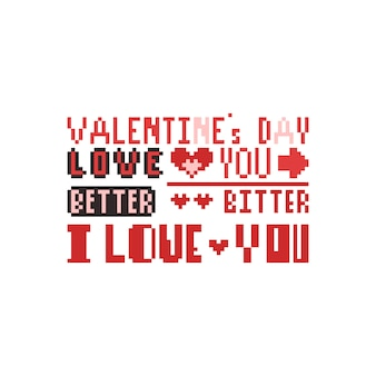 Texte de pixel art saint valentin.