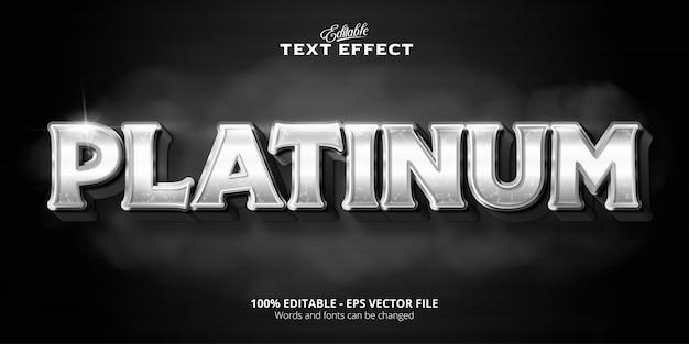 Texte en platine, effet de texte modifiable de style platine brillant