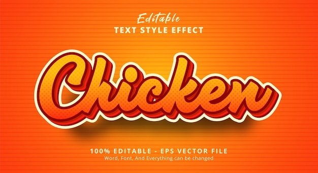 Texte de poulet sur effet de texte de couleur claire, effet de texte modifiable