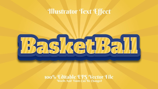Texte premium modifiable effet basket-ball 3d