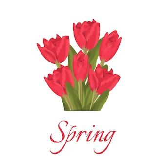 Texte de printemps avec bouquet de fleurs de tulipes rouges.