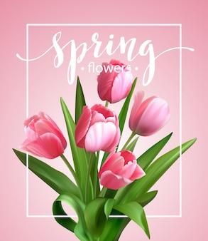 Texte de printemps avec fleur de tulipe.