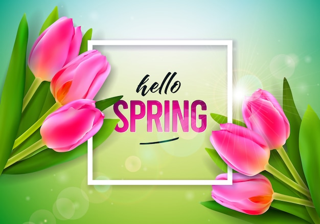 Texte de printemps. modèle de conception florale avec lettre de typographie