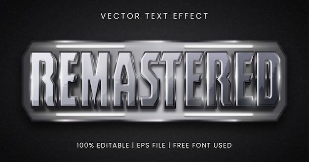 Texte remasterisé, style d'effet de texte modifiable en métal argenté