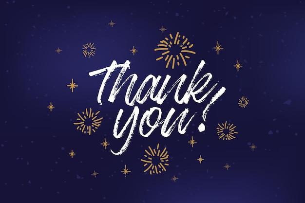 Texte de remerciement dessiné à la main sous forme d'insigne de logo et d'icône d'affiche d'invitation à la carte postale
