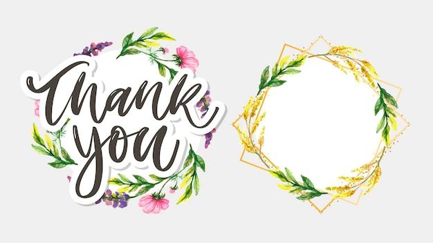 Texte de remerciement mignon et ensemble de couronne florale