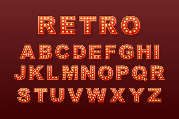 Texte rétro léger, idéal pour tous les usages. alphabet ampoule rétro. illustration de stock.