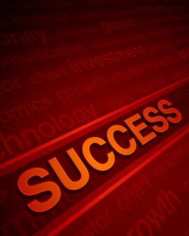 Texte de réussite 3d en perspective avec des mots