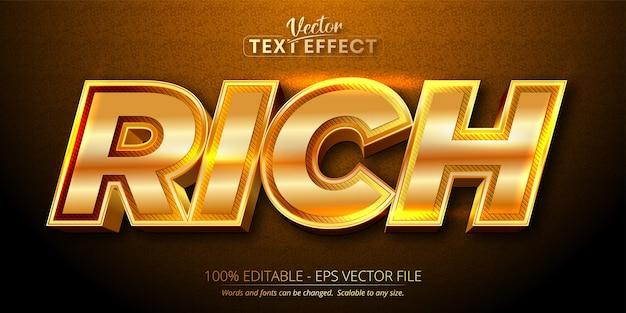 Texte riche, effet de texte modifiable de style or brillant