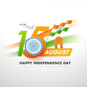 Texte avec roue ashoka, drapeau indien, porte de l'inde et avions de chasse sur fond blanc pour le concept de la bonne fête de l'indépendance.