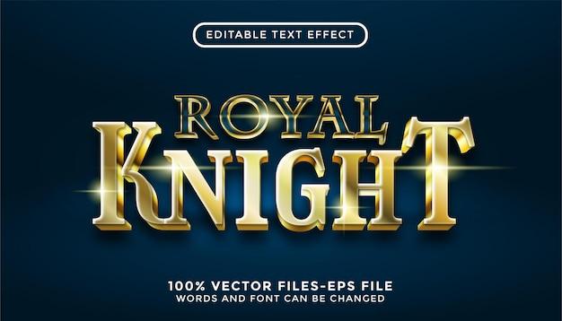 Texte de roya knight. effet de texte modifiable avec des vecteurs premium de style or